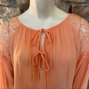 Etro Tops - Etro Peach Gauze and Lace Top Size Large